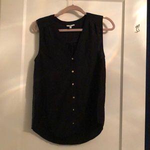 Golden button black blouse